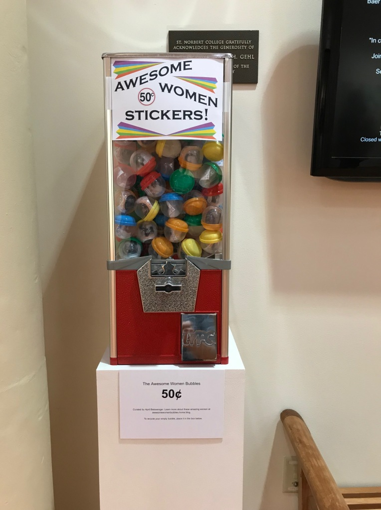 A bubble vending machine full of stickers.